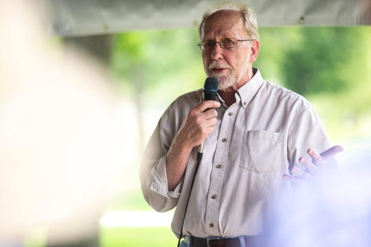 U.S. Rep. Dave Loebsack, D-Iowa, speaks during the Iowa City Federation of Labor Labor Day Picnic, Monday, Sept. 2, 2019, at Lower City Park in Iowa City, Iowa.
