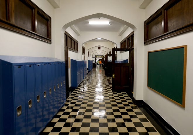 The main hallway on the second floor of the old Marygrove College where ninth graders at the new The School at Marygrove will be roaming going from class to class when school starts up on Tuesday, September 3, 2019.