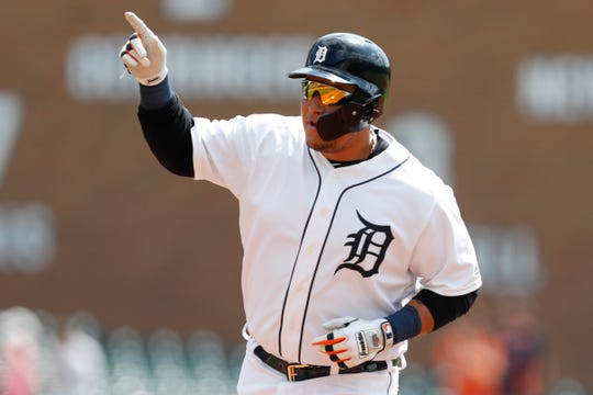 Tigers designated hitter Miguel Cabrera points to the crowd after hitting a solo home run during the first inning on Monday, Sept. 2, 2019, at Comerica Park.