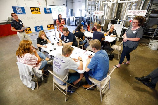 """Supporters for Democratic presidential candidate Pete Buttigieg meet at a local brewery for a """"relational phone bank"""", Thursday, Aug. 29, 2019, in West Des Moines, Iowa. Buttigieg is well behind his better known rivals in Iowa who have spent months building a deep organizational structure in the state that marks the first test for the Democratic presidential nomination. But thanks to his campaign taking in nearly $25 million in contributions in the last quarter, money that he is using to help create an army of peer-to-peer foot soldiers, Buttigieg is rapidly trying to catch up."""