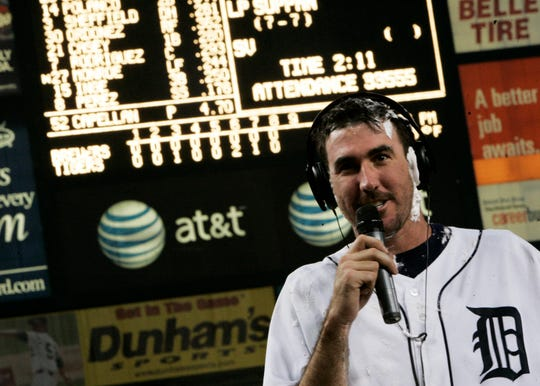 Justin Verlander after his no-hitter against the Milwaukee Brewers in 2007.
