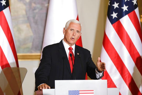 U.S. Vice President Mike Pence gestures during joint press statements with Polish President Andrzej Duda after their meeting in Warsaw, Poland, Monday, Sept. 2, 2019. Vice President Mike Pence has been directly involved in conversations with Attorney General William Barr about the death penalty initiative, Marc Short, the vice president's chief of staff, told reporters traveling with Pence between Poland and Ireland on Monday.