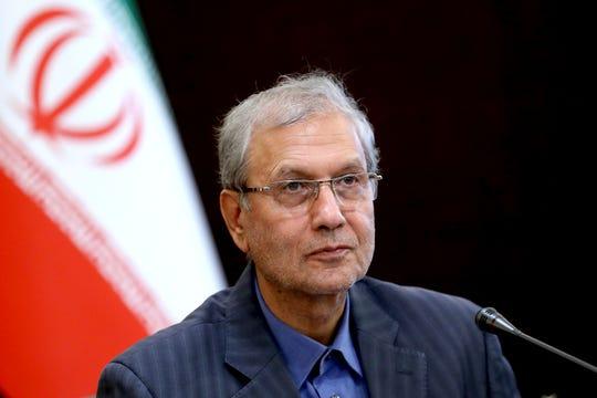 Iran's government spokesman Ali Rabiei speaks in a press briefing in Tehran, Iran.