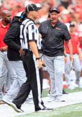 Ohio State co-defensive coordinator Greg Mattison vents at a referee during Saturday's game against Florida Atlantic at Ohio Stadium. Mattison served as assistant coach at Michigan in separate tenures from 1992-96 and 2011-18.