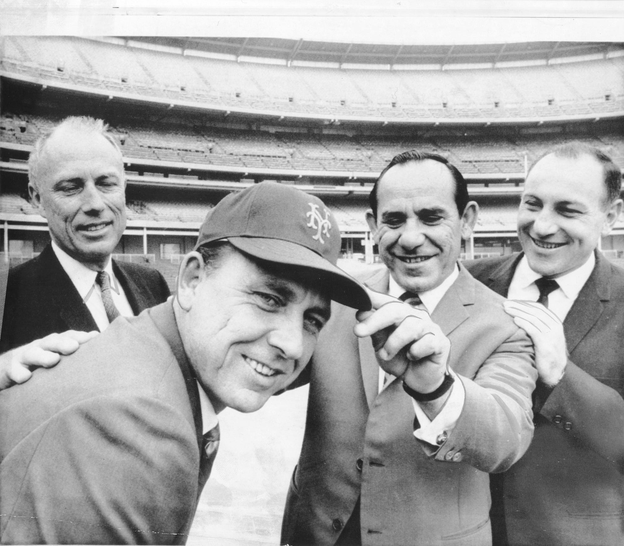 Gil Hodges (left, with Yogi Berra) was named Mets manager in 1967 and led the team to a championship two years later.