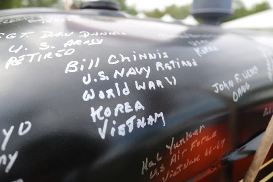 One of the most special signatures on the tractor is that of Bill Chinnis, a retired U.S. Navy veteran who served in World War II, the Korean War and the Vietnam War, made it home from after all three and is still with us to this day.