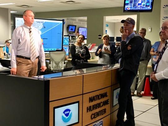 U.S. Senator and former Florida Gov. Rick Scott visits the National Hurricane Center in Miami on Sept. 2, 2019.