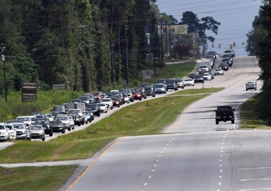 Traffic going out of Myrtle Beach area, Monday, on SC 501 in Aynor, SC.
