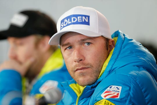 In this Monday, Feb. 2, 2015, file photo, U.S. men's ski team member Bode Miller participates in a news conference at the alpine skiing world championships in Beaver Creek, Colo. Miller is moving his family to Montana part time after a tumultuous year that included the tragic drowning of his toddler daughter. Miller says 19-month-old Emeline Miller's death made him sharpen his focus on his four other children, and with twins due this fall, he decided the time was right to head to the mountains. The family will split their time between homes in Southern California and Big Sky, Mont. (AP Photo/Brennan Linsley, File)