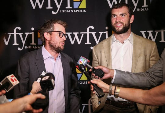 """John Green and Andrew Luck take questions from the media after """"Listen Up: The Great American Read with Andrew Luck and John Green,"""" at Old National Centre in Indianapolis on Thursday, May 3, 2018."""