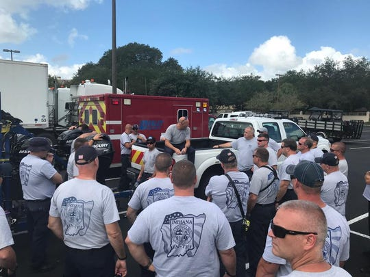 Members of Indiana Task Force 1 collect outside for training. The Task Force has 80 members in Florida right now to offer emergency services in the wake of Hurricane Dorian.