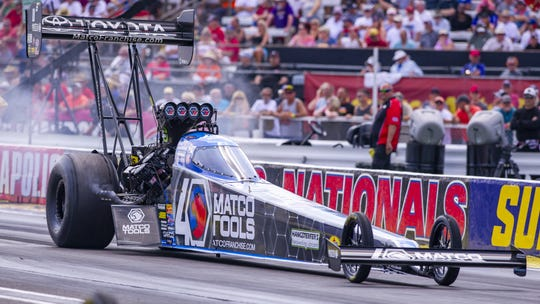 Antron Brown prepares on the track for his run. The final day of racing for the 65th Chevrolet U.S. Nationals pitted drivers head-to-head at Lucas Oil Raceway in Brownsburg, Monday, Sept. 2, 2019.
