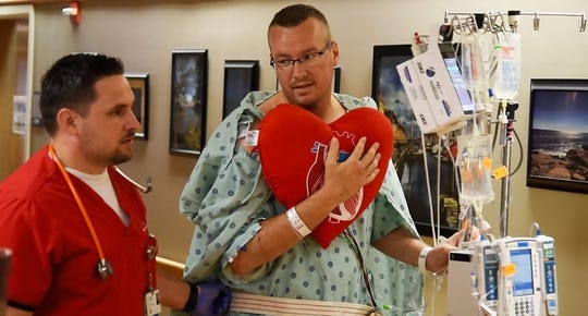Curtis Underhill recovers from an aortic dissection inside the intensive care unit at IU Health Methodist Hospital.