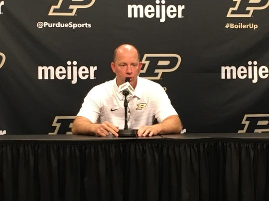 Purdue coach Jeff Brohm at his weekly press conference