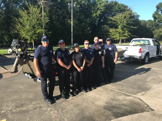 Lafayette firefighters (from left to right) Travis LeBlanc, Brandon Frinfrock, Ariel Meche, Phillip Crea, Archie Ducharme, William Hodges and Brandon Broussard are heading to Jacksonville, Florida to help with Hurricane Dorian response.