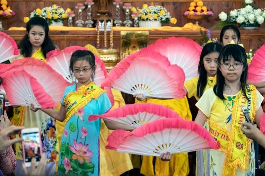 Children and young adults performed cultural dances and songs during the opening ceremonies of the Buddha Blessed Temple on Sept. 1, 2019.