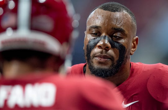 Alabama defensive lineman Raekwon Davis (99) at the Chick-fil-A Kickoff Game at Mercedes Benz Stadium in Atlanta, Ga., on Saturday August 31, 2019.