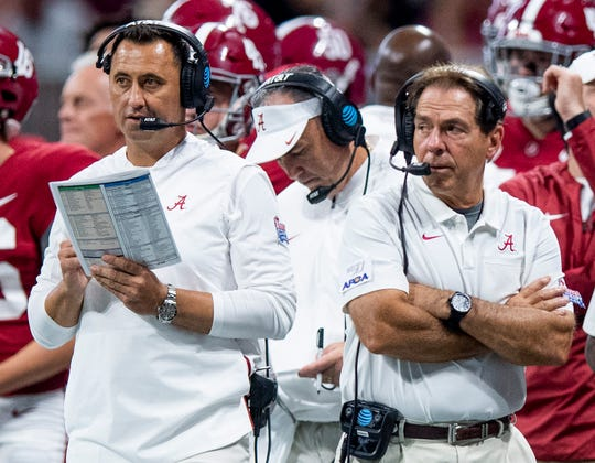 Alabama offensive coordinator Steve Sarkisian  and head coach Nick Saban against Duke in the Chick-fil-A Kickoff Game at Mercedes Benz Stadium in Atlanta, Ga., on Saturday August 31, 2019.