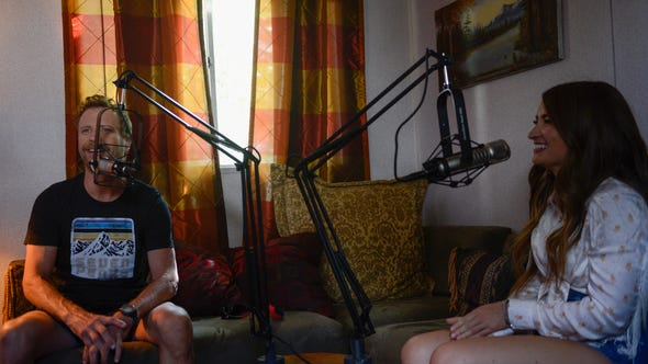 """Dierks Bentley and Tenille Townes speak during a recording of the """"Country Mile"""" podcast at Seven Peaks Festival held in Buena Vista, Colorado."""