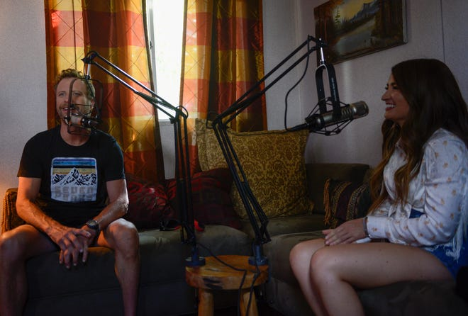 "Dierks Bentley and Tenille Townes speak during a recording of the ""Country Mile"" podcast at Seven Peaks Festival held in Buena Vista, Colorado."