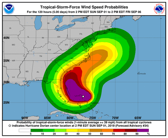Hurricane Dorian wind speed probabilities as of 2 p.m. EDT on Sunday.