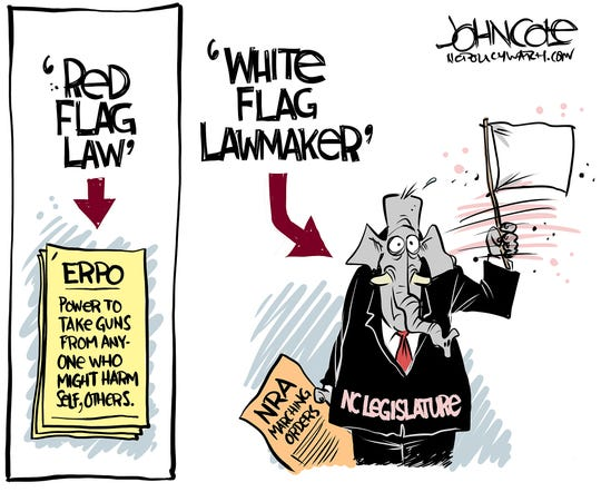 Red flag law; white flag GOP.