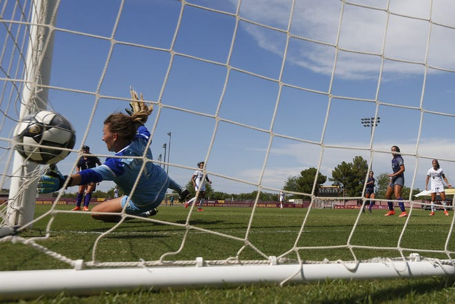 Weber State goalkeeper Nikki Pittman watches a shot go off the side netting by ASU at the Sun Devil Soccer Stadium September 1, 2019.