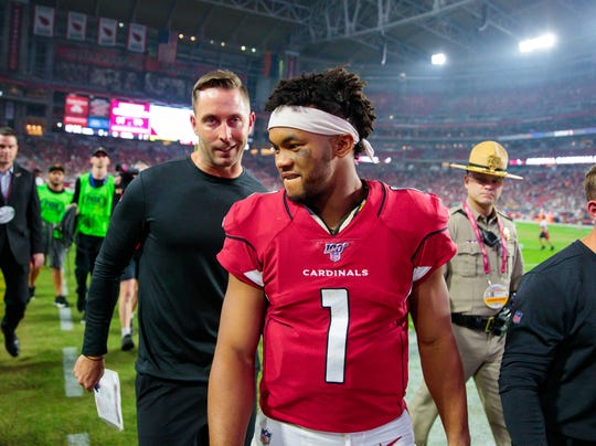 Can Kliff Kingsbury and Kyler Murray (1) win their first game with the Arizona Cardinals?