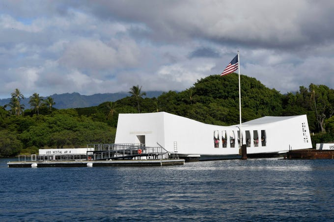 People visit the USS Arizona Memorial at the Pearl Harbor National Memorial in Honolulu, Hawaii, on Sept. 1, 2019.