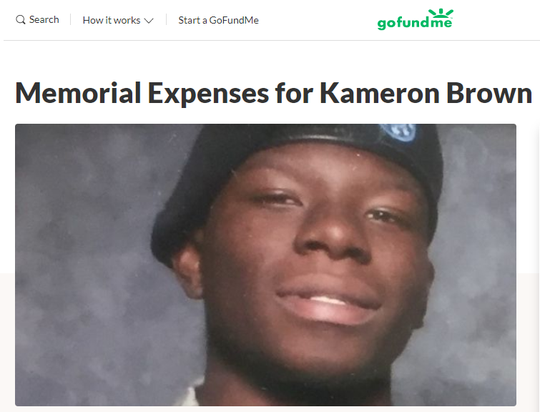A GoFundMe page was set up for memorial expenses for Kameron Brown after he was killed in the Odessa, Texas mass shooting.