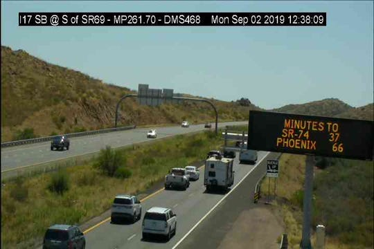 Traffic is building up along Interstate 17 outside Flagstaff on Sept. 2, 2019.