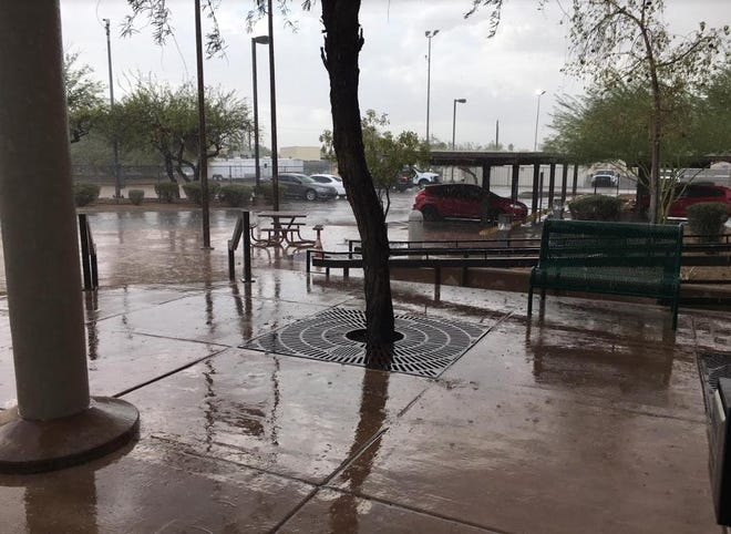 Rain in south Phoenix during a monsoon storm on Sept. 1, 2019.