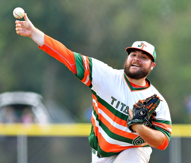 Jefferson pitcher Brian Bossom, seen here in a file photo, pitched 2 1/3 innings of shutout relief on Thursday to pick up the win vs. Dillsburg.