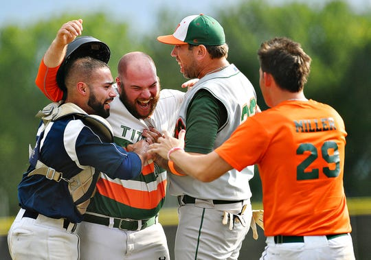 Jefferson celebrates a 4-3 over Lansdale to claim the 2019 Tom Kerrigan Memorial Baseball Tournament title game in West Manchester Township, Monday, Sept. 2, 2019. Dawn J. Sagert photo