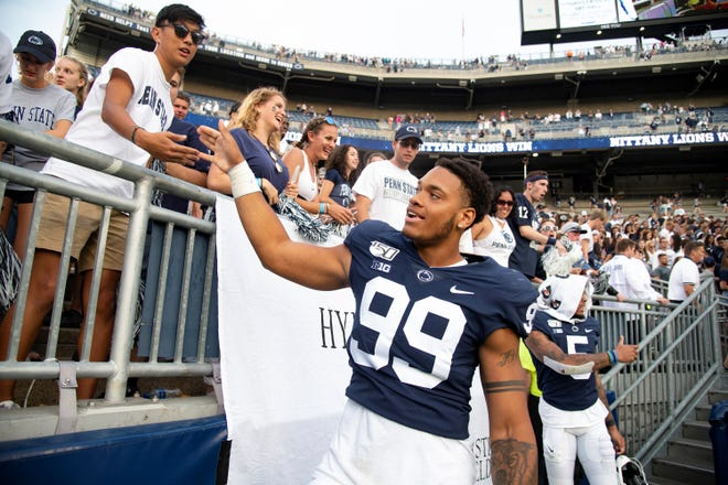 Defensive end Yetur Gross-Matos, seen here in a file photo during his playing days at Penn State, is hoping to be a first-round pick in the upcoming NFL draft.