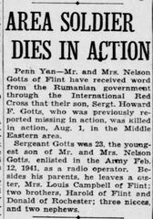 The Oct. 27, 1943 Democrat and Chronicle story announcing Howard Gotts' death.