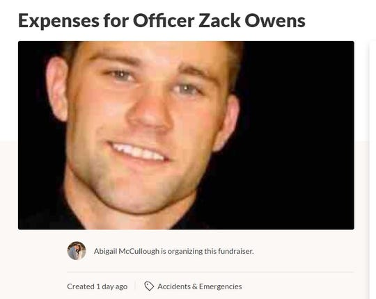 A GoFundMe for Midland police officer Zack Owens was started by Abigail McCullough.
