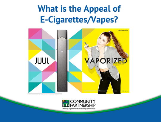 An advertisement for e-cigarettes that seems to target young people, according to Scott Allen with Community Partnership of the Ozarks.