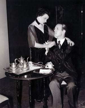 """Photo from """"The Eleventh Hour,"""" showing Staunton actress Erma Wigfield (portraying Ellen Axon Wilson) and professional actor Donnell Stoneman (as Woodrow Wilson) in a scene from the play."""
