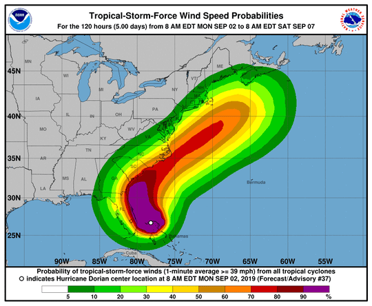 Tropical storm-force wind probabilities for Hurricane Dorian, as of 2 p.m. Monday, Sept. 2