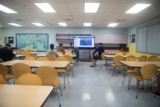 A common room is seen at the pet-friendly shelter at the Willoughby Learning Center in Martin County on Monday, Sept. 2, 2019, in anticipation of Hurricane Dorian. Martin County School District officials Thursday said schools reported no damage to campus structures.