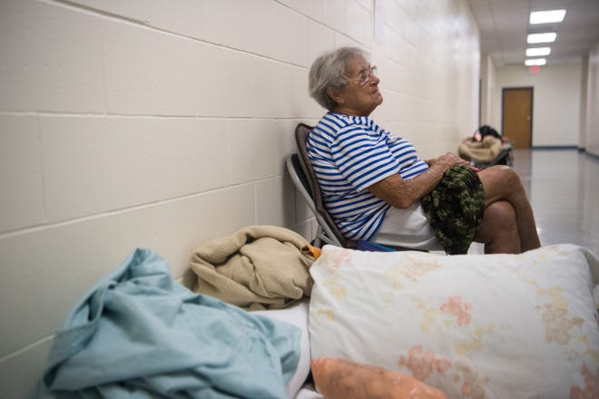 Monica Grass, of Hutchinson Island, stays at the pet-friendly shelter at the Willoughby Learning Center in Martin County on Monday, Sept. 2, 2019, in anticipation of Hurricane Dorian.