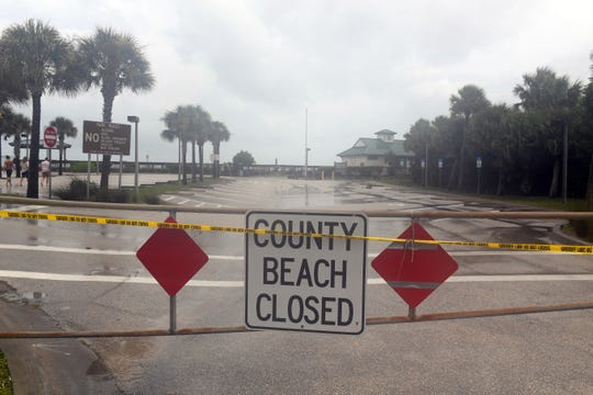 Officials are starting to close county beaches to the public as shown here at Wabasso Beach Park on Monday, Sept. 2, 2019. High winds, flooding and coastal erosion is expected with the storm.