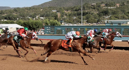 Mr Jess Jenkins leads the field to the finish in the All American Futurity at Ruidoso Downs on Monday, Sept. 2, 2019.