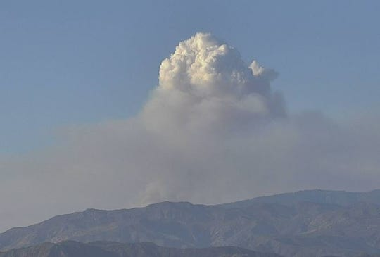 A cloud of smoke from the Snail Fire in the Lockwood Valley area as seen from the Red Mountain webcam around 6 p.m. Sunday.