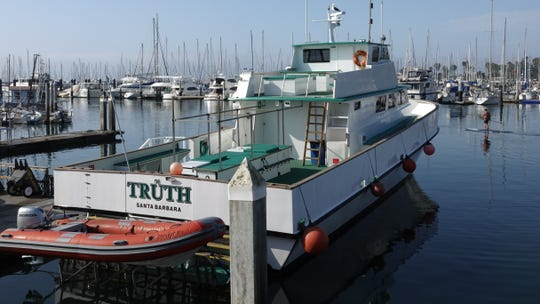 This is the Truth, sister boat to the Conception, which was docked Monday morning at Santa Barbara Harbor. The Conception, which caught fire Monday morning, is about 10 feet longer, although they both can carry about 45 people.
