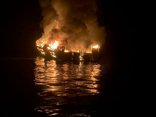 A fire overtook the 79-foot Conception early Monday morning. The vessel was anchored off Santa Cruz Island.