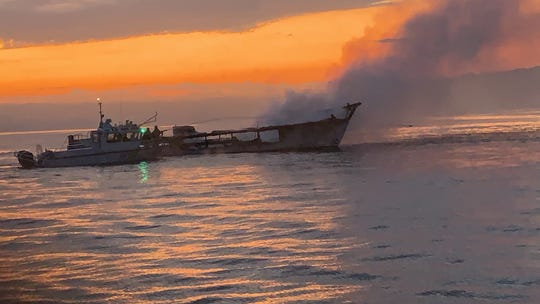 A fire overtook the 79-foot Conception early Sept, 2, 2019. The vessel was anchored off Santa Cruz Island. The U.S. Coast Guard responded.