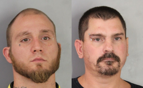 Sean Speed (left) and Jeffrey Peer (right) were arrested after allegedly firing shots at another car following a road rage incident.