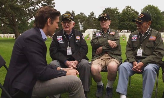 David Muir in Normandy, France, with World War II veterans who landed on D-Day 75 years ago.